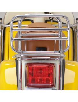 PORTAPAQUETES TRASERO ABATIBLE ACERO INOX (con manilla pasajero) LML STAR 125/150/200 (2T/4T) (COMPATIBLE PARA MODELOS DE VESPA)