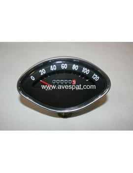 RELOJ CUENTAKILOMETROS OVALADO VESPA 125/150 (Fondo color Negro 120 Km/h)
