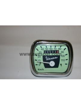 RELOJ CUENTAKILOMETROS VESPA 125/150 (110 KMH) (Cable 2mm) fondo color verde